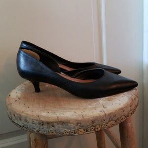 Vince Camuto black leather kitten heel pumps